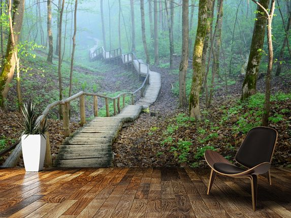 Foggy forest stairway wall mural room setting