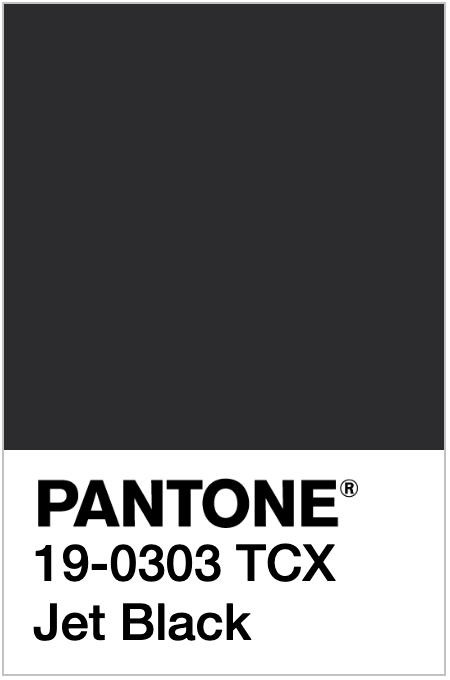 PANTONE 19-0303 TCX - Jet Black | Pantone, Color, Jet black