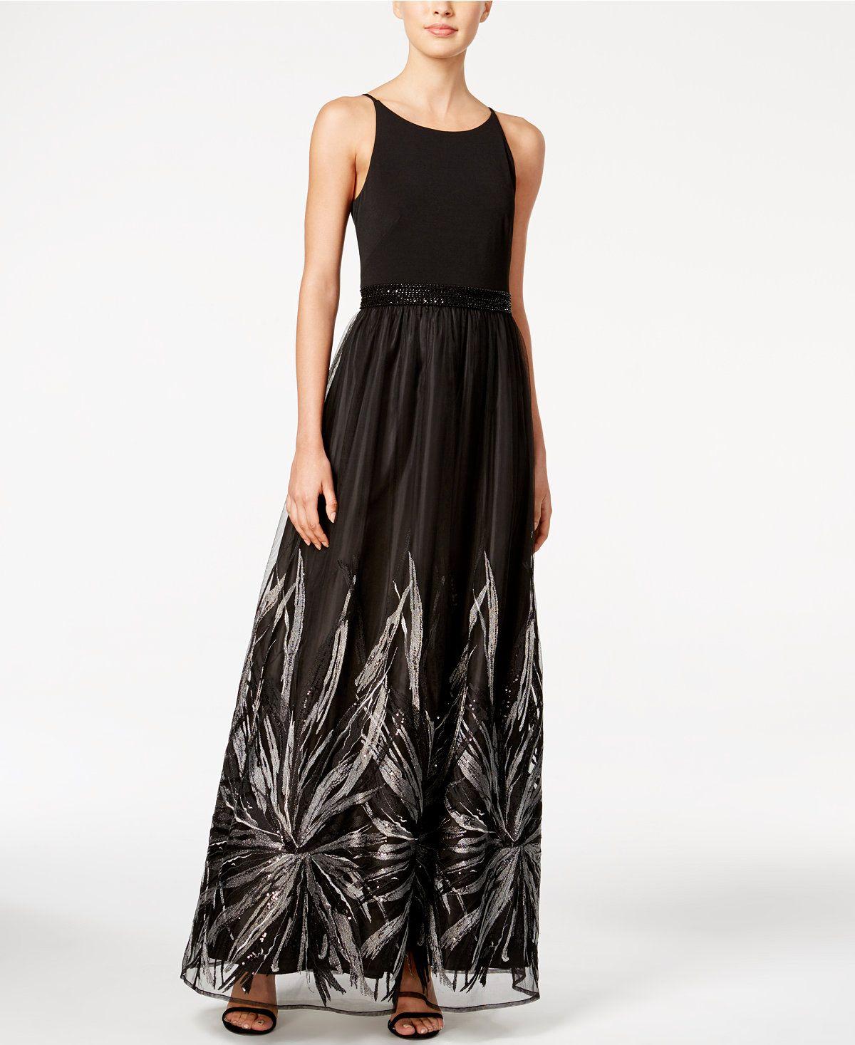 Calvin Klein Metallic Floral Trim Gown Dresses Women Macys