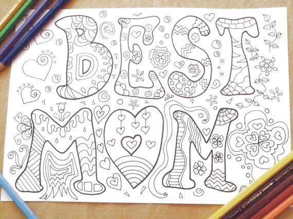 Best Mom Coloring Book Mothers Day Page Kids Instant Download Card Colouring Drawing Meditation Zen Printable