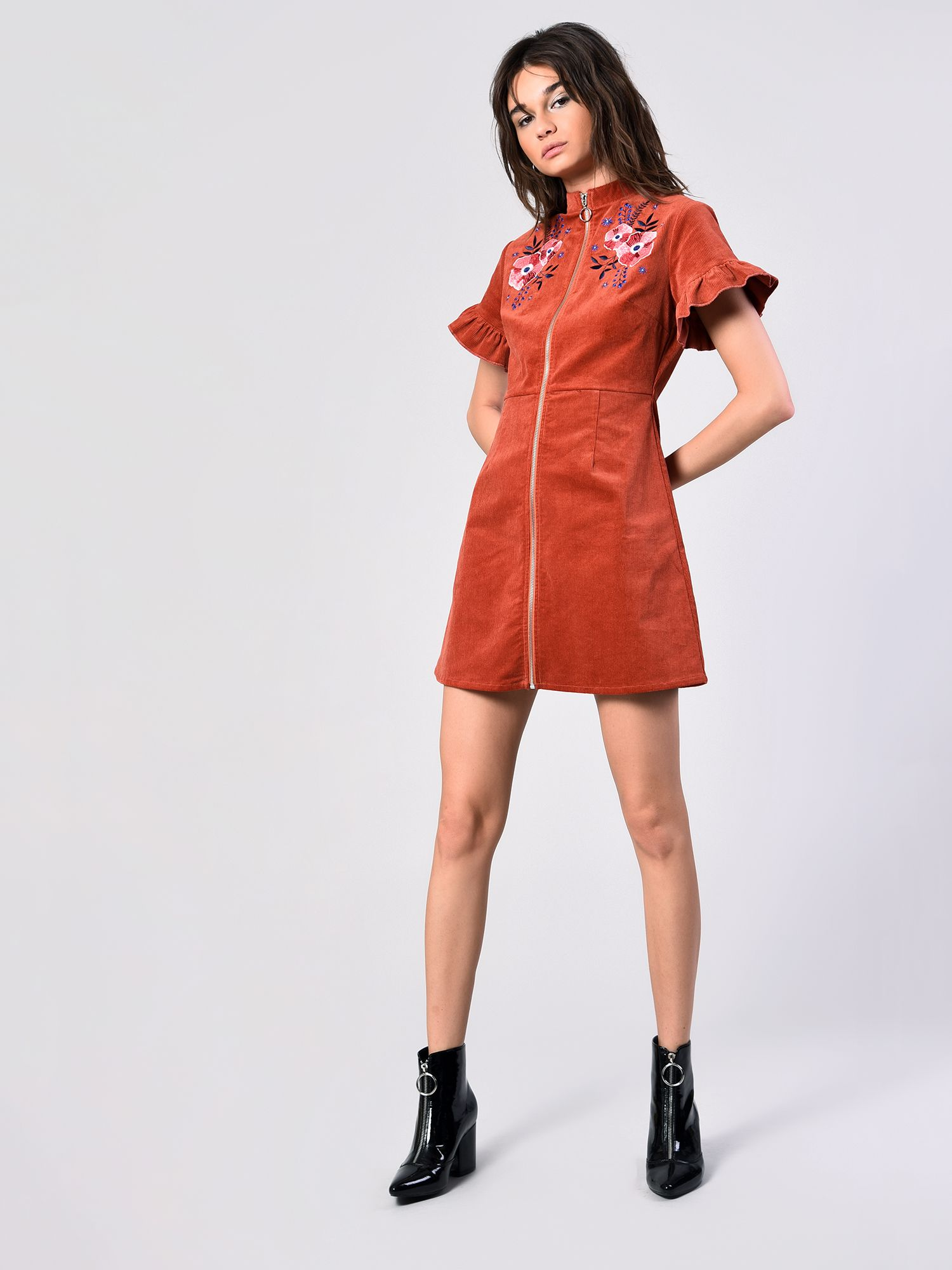 5773d261a2b Rust Corduroy Embroidered Frill Sleeve Dress- £45.00