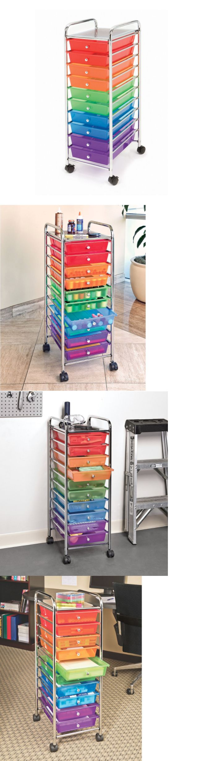 Craft Carts 146400: Multi Colored 10 Drawer Storage Cart For Crafts Sewing  School Art Supplies
