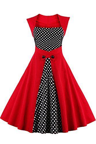 Babyonline Elegant Damen Ohne Arm 50er 60er Jahre Ubergro Https Www Amazon Vestidos De Lunares Modas De Vestidos Elegantes Vestidos Formales Para Senoras