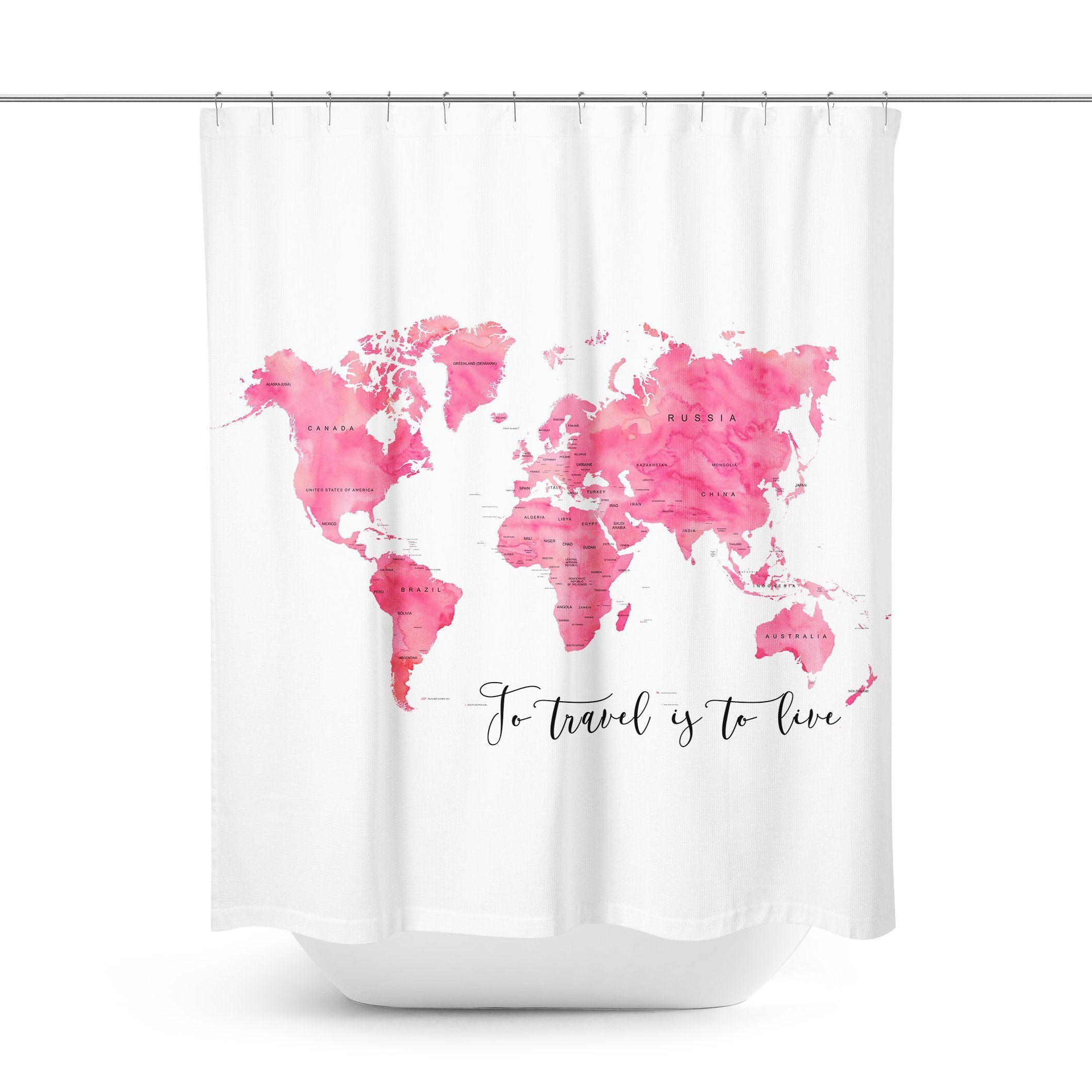 Pink World Map Shower Curtain Curtains Shower Curtain World Map