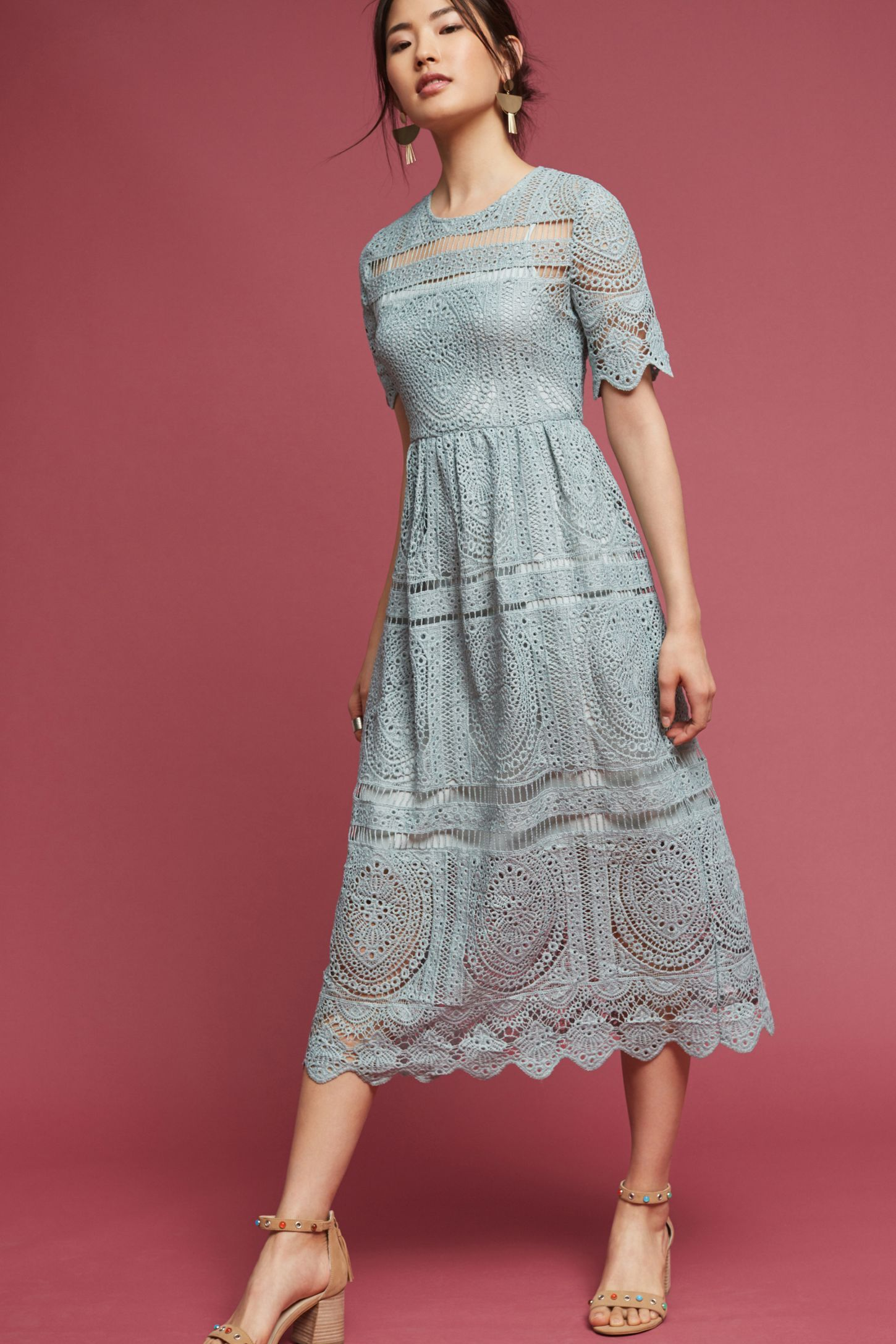 8a190f6adbd1 Shop the Mint Lace Midi Dress and more Anthropologie at Anthropologie  today. Read customer reviews, discover product details and more.