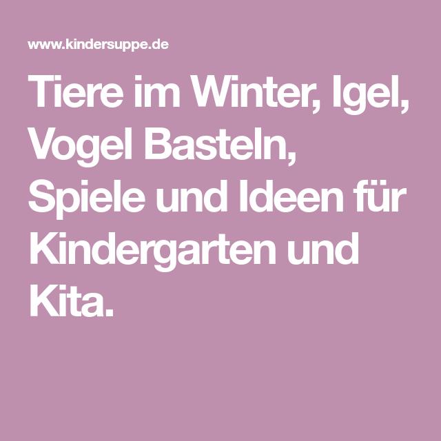 Tiere Im Winter Igel Vogel Basteln Spiele Und Ideen Fur Kindergarten Und Kita Kindergarten Vogel Basteln Tiere