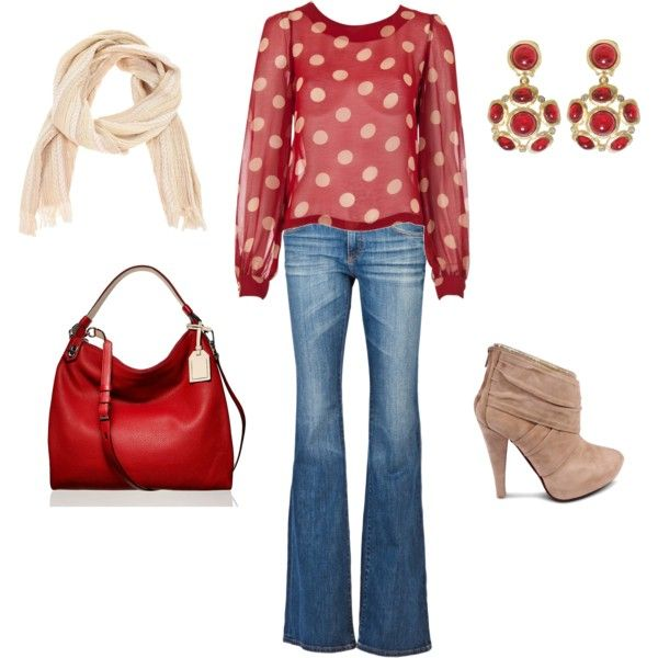 Red polka dot casual friday jeans outfit jean outfits polyvore red polka dot casual friday jeans outfit sisterspd