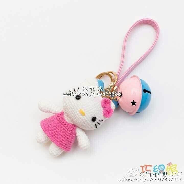 Hello Kitty Keychain | Crochet Hello Kitty Free Pattern | Pinterest ...