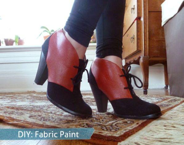 diy color block ankle boots :)