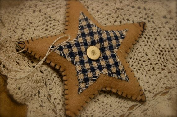 Primitive Felt Americana Star Ornament Decoration Beige with Blue