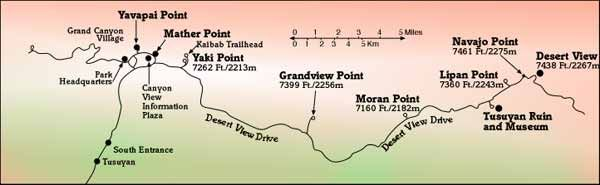 Map Of Viewpoints On Desert View Drive Grand Canyon