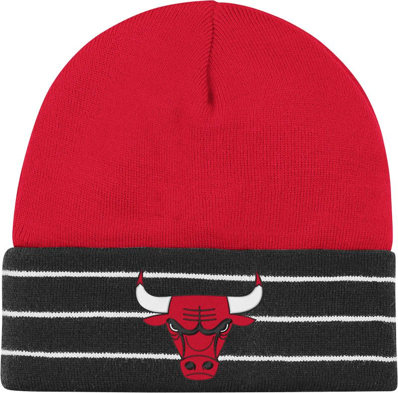 22cc9e88094 Chicago Bulls Striped Cuffed Knit Beanie by Adidas