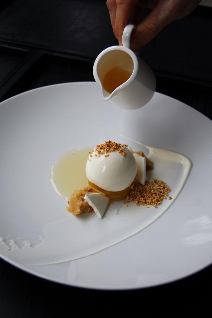 Benjamin Donaths Greek Wine dessert composition with Apples, Retsina, Financier, Yoghurt Meringu