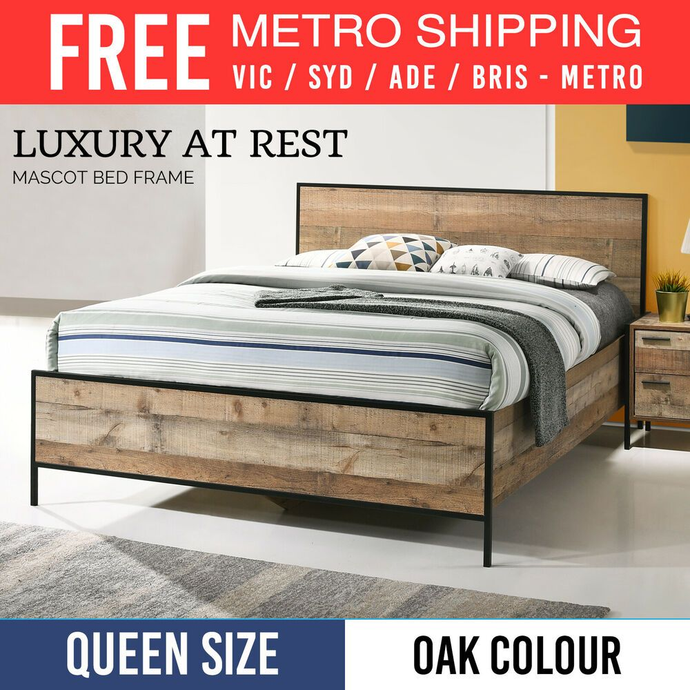 Brand New Queen Size Bed Frame Particle Board Oak Colour Metal