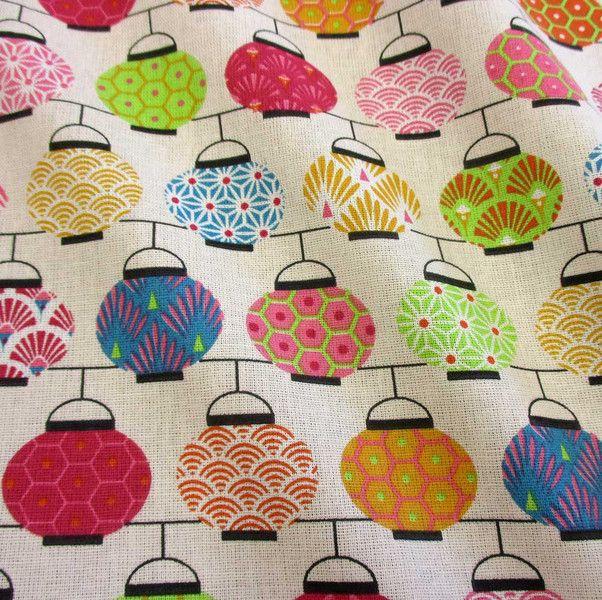 Weiteres - Stoff Baumwolle Japan Lampions pink bunt Chochin - ein  Designerstück von werthers-stoffe