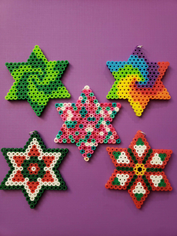 Star Made With Perler Beads Etsy Perler Bead Art Easy Perler Bead Patterns Perler Bead Templates