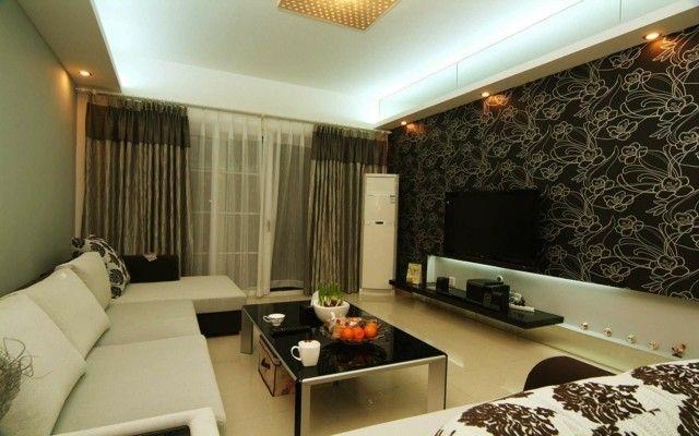 salon amplio diseño papel pared motivos florales bonito | Sala de ...