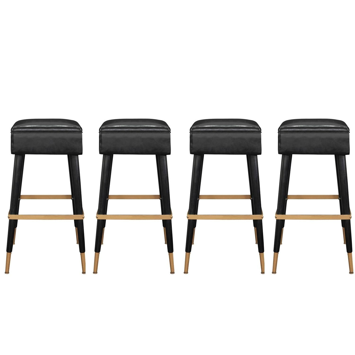 Set Of Four Chic Bar Stools With Brass Sabots And Footrests From A Unique Collection Of Antique And Moder Bar Stools Mid Century Bar Stools Modern Bar Stools