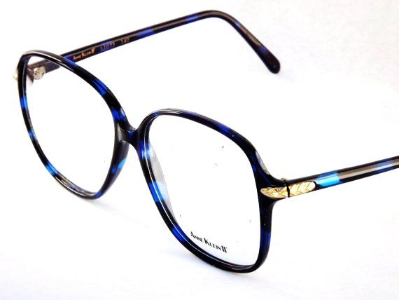 big square eyeglasses designer anne klein 80s vintage womens black and blue eyewear loveitsomuch