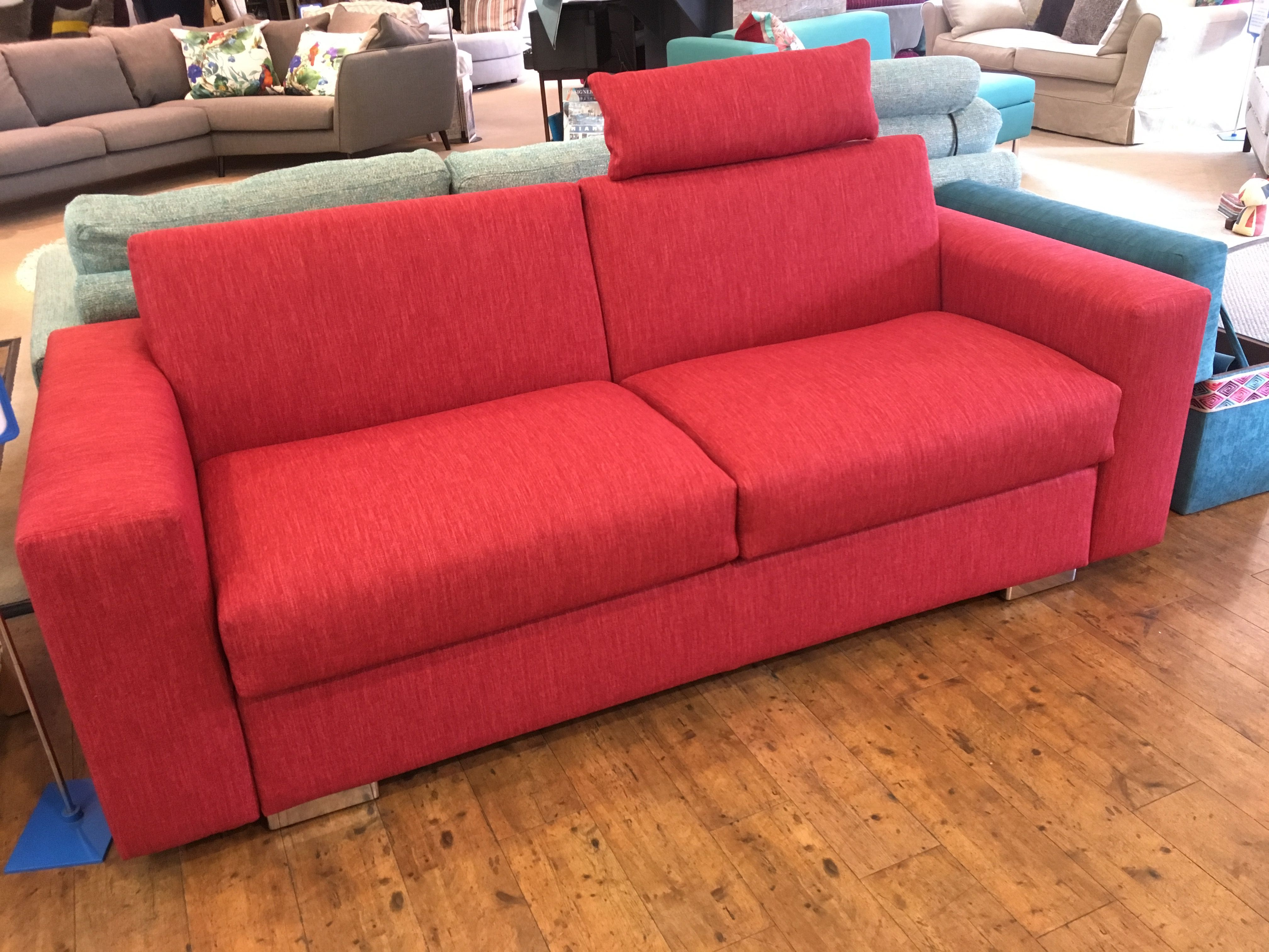 Lario 2 5 Seat Sofa Bed With 20 Cm Arms 204 Cm Wide Displayed In Warwick Fabrics Key Largo Cherry Optional Headrest Sofa Sofa Bed Luxury Sofa Bed