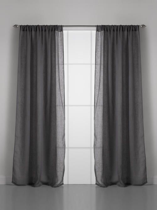 Couture Dreams Solid Linen Gauze Slate Grey Window Curtain Panel Curtains Curtains Elegant Curtains