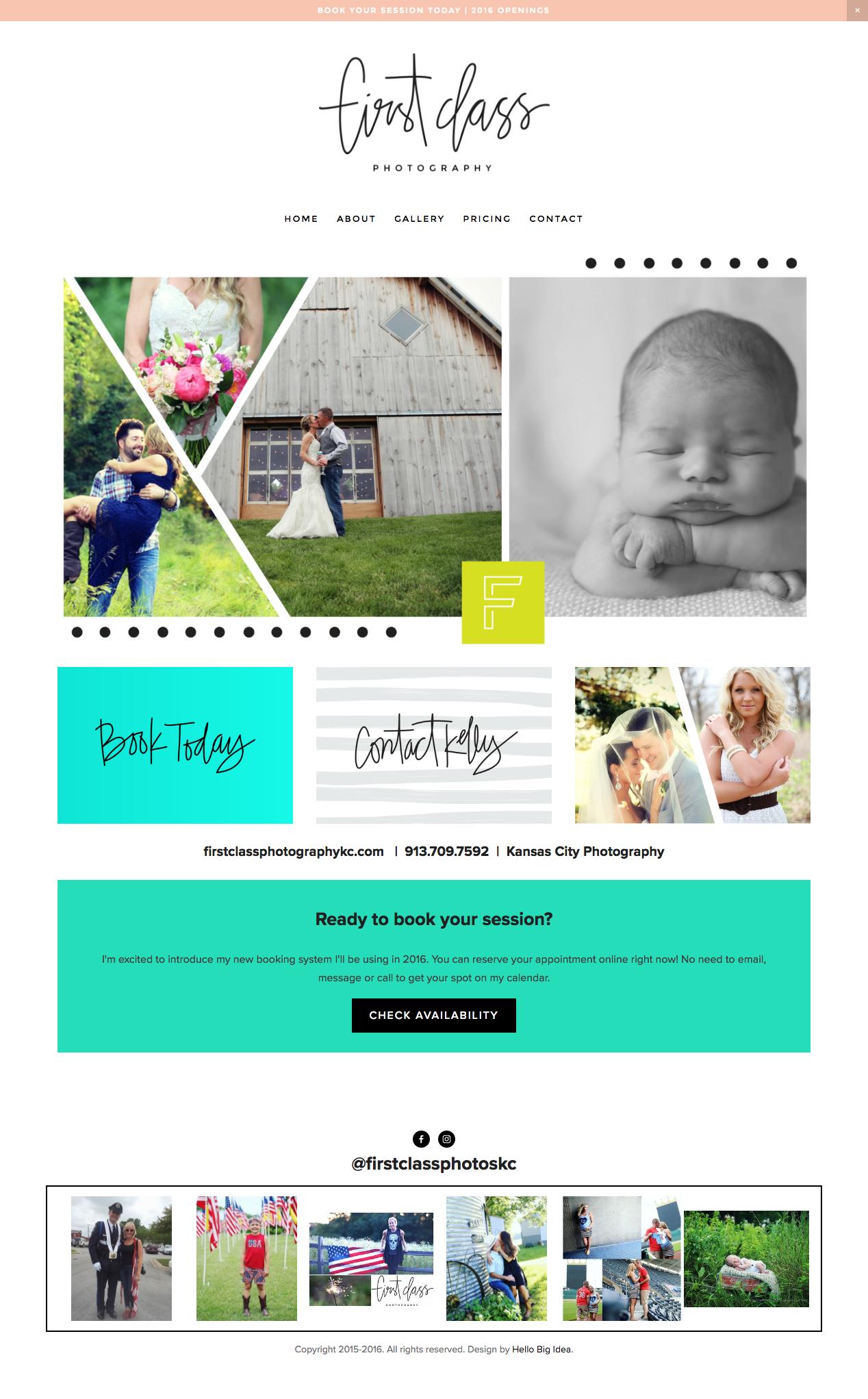 Squarespace Site For Firstclassphotographykc Com Branding And Design By Hellobigidea Com Creative Design Agency Web Layout Design Web Design