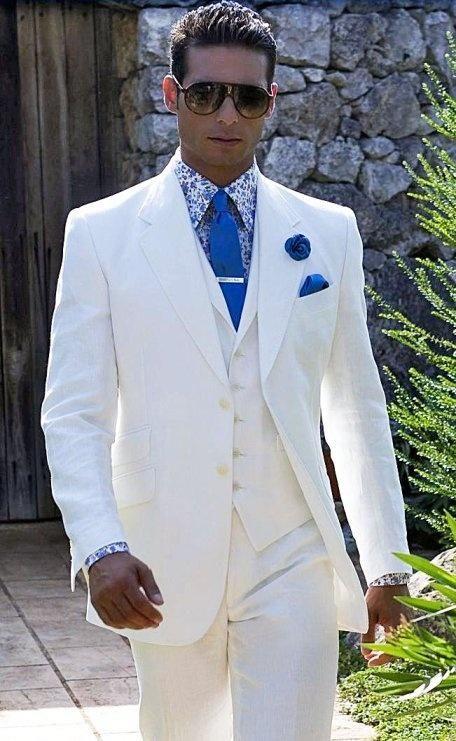 Mike Wedding 2015 White Linen Men Suits Notched Lapel Tuxedos Wedding Suits For Men Groomsmen