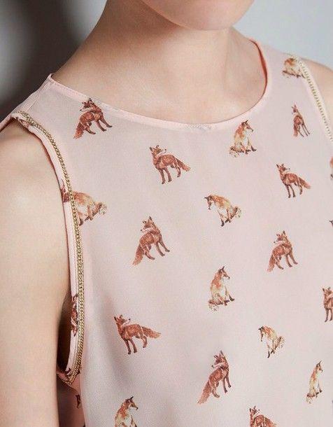 blouse fox girl pink animal print nude