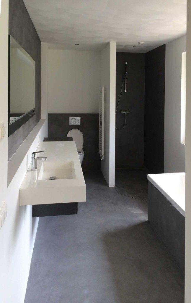 Gestucte badkamers betonlook beal mortex   Huis in 2018   Pinterest ...