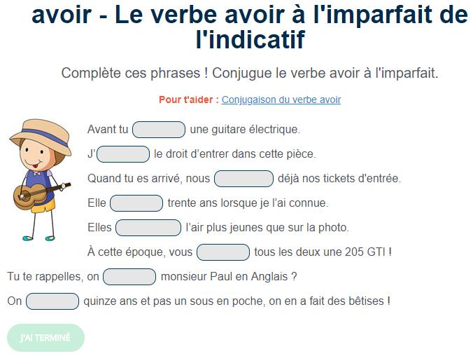 Le Verbe Avoir A L Imparfait Verbe Avoir Exercice De Francais Cm1 Conjugaison Cm1