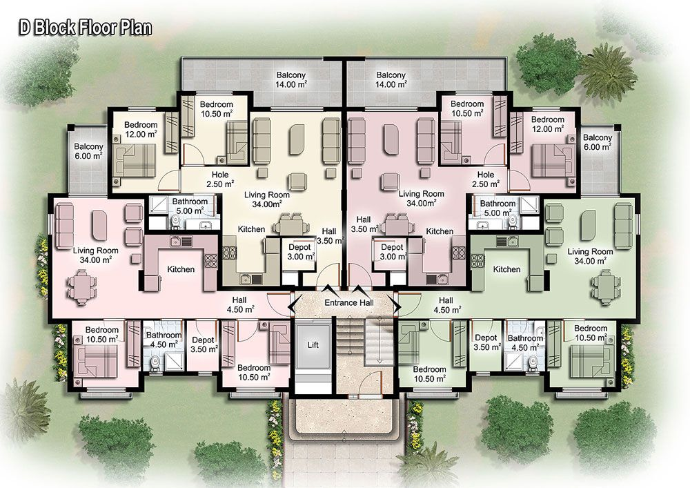 Apartment unit plans modern apartment building plans in for Two unit apartment plans