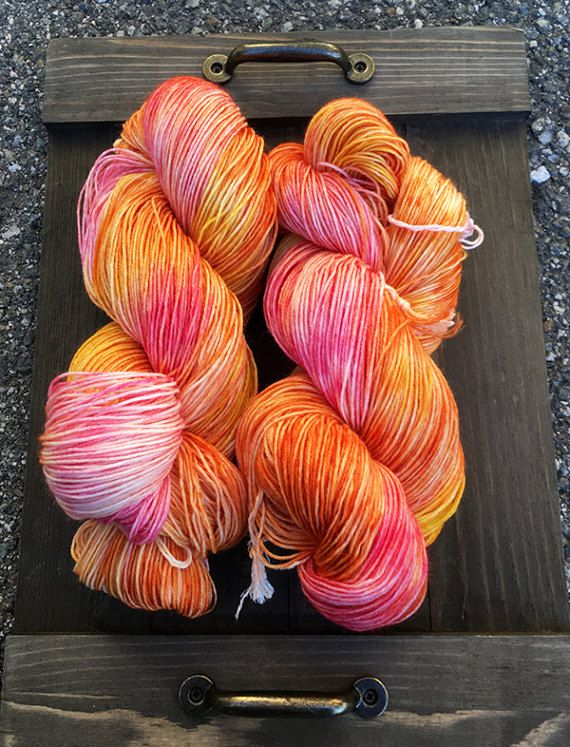 Hand Dyed Yarn Fingering Sock Weight Superwash Merino Wool And
