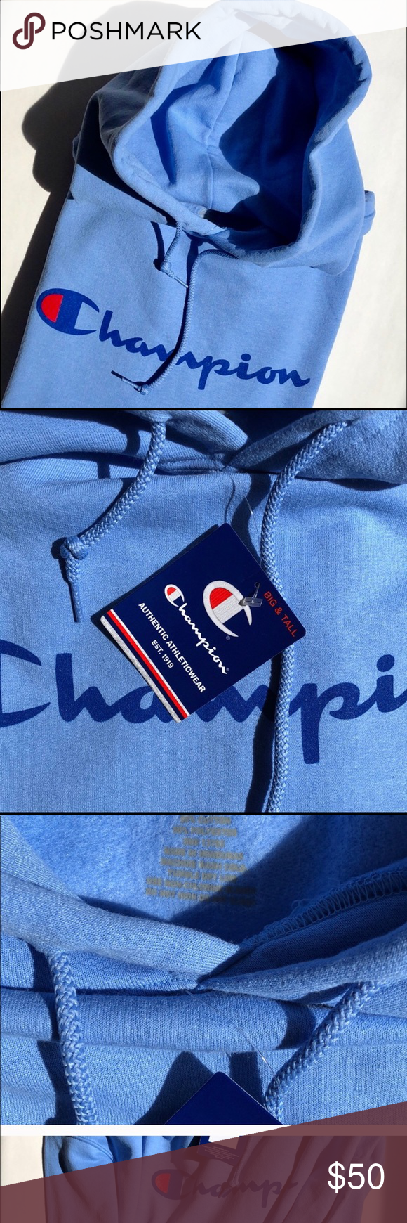 Champion Hoodie Gorgeous Blue and Red  Champion Hoodie  Authentic Size 1x  Cozy, warm and on Trend! Champion Tops Sweatshirts & Hoodies #championhoodie
