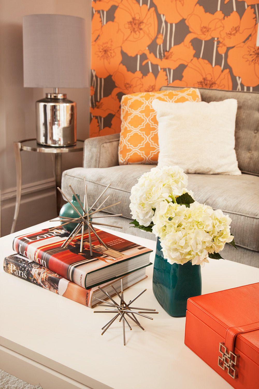 interesting wallpaper centerpieces living room coffee table | Chic Victorian ¦ Coddington Design ¦ Den Detail orange ...