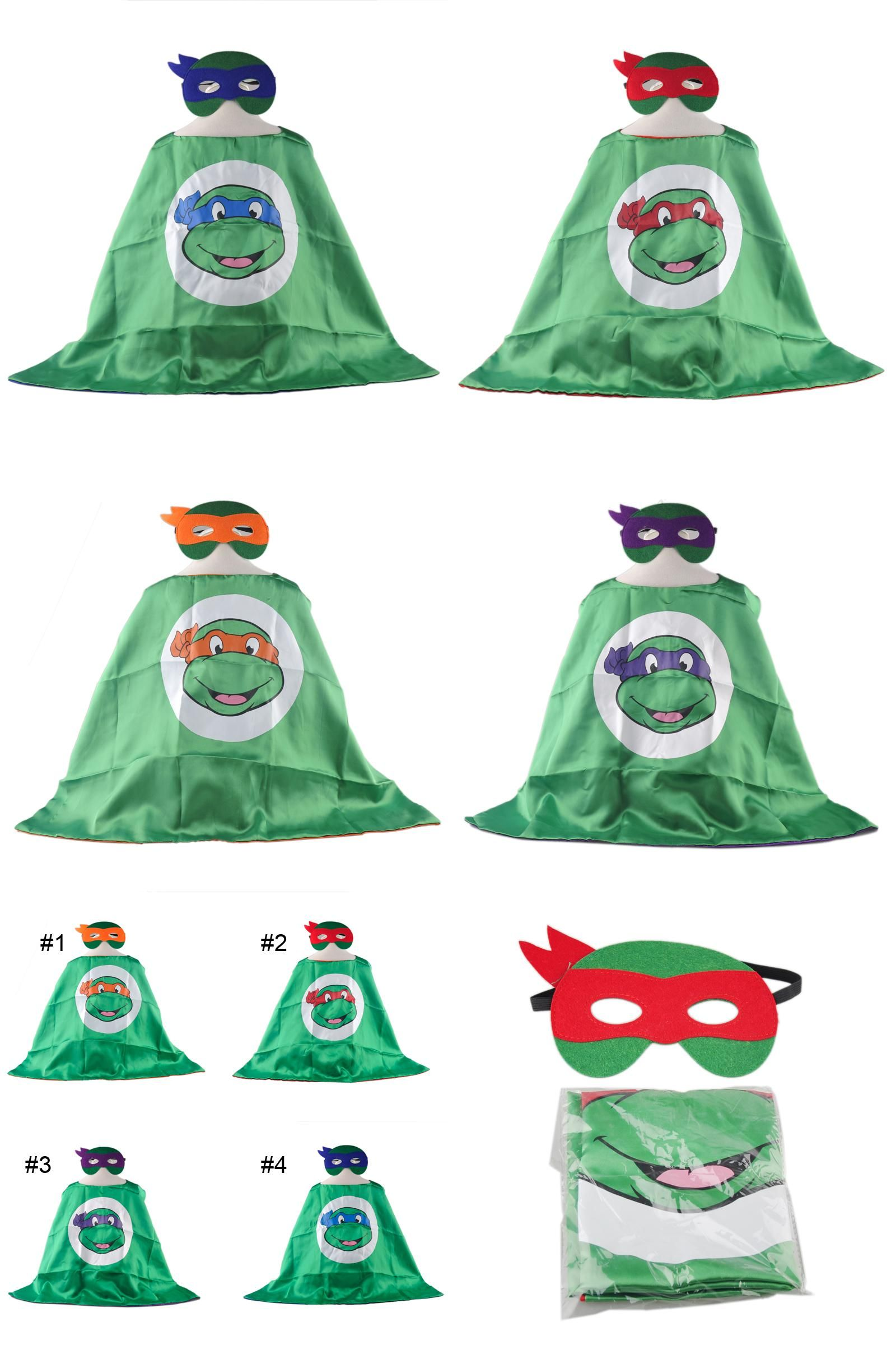 [Visit to Buy] New Cosplay Costume Teenage Turtle Turtles Party Cape Masks Halloween Fancy Dress Kids Children Capes Mask Birthday Gifts #Advertisement