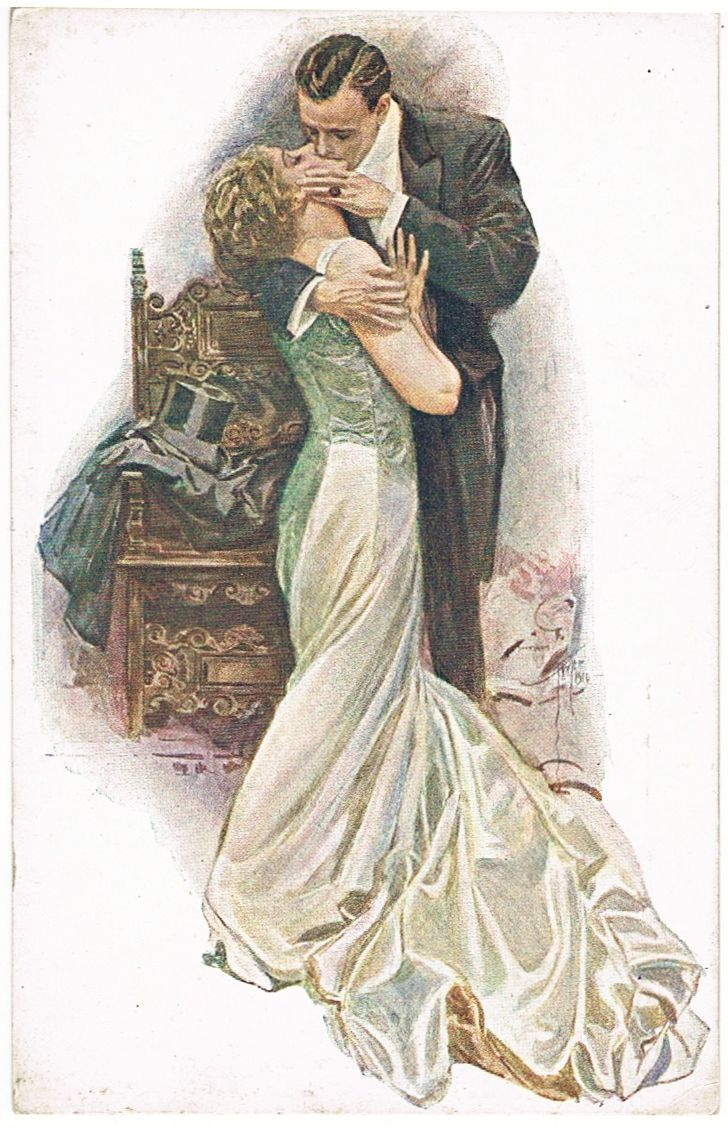 Harrison Fisher Postcard from Finland The Kiss 1900