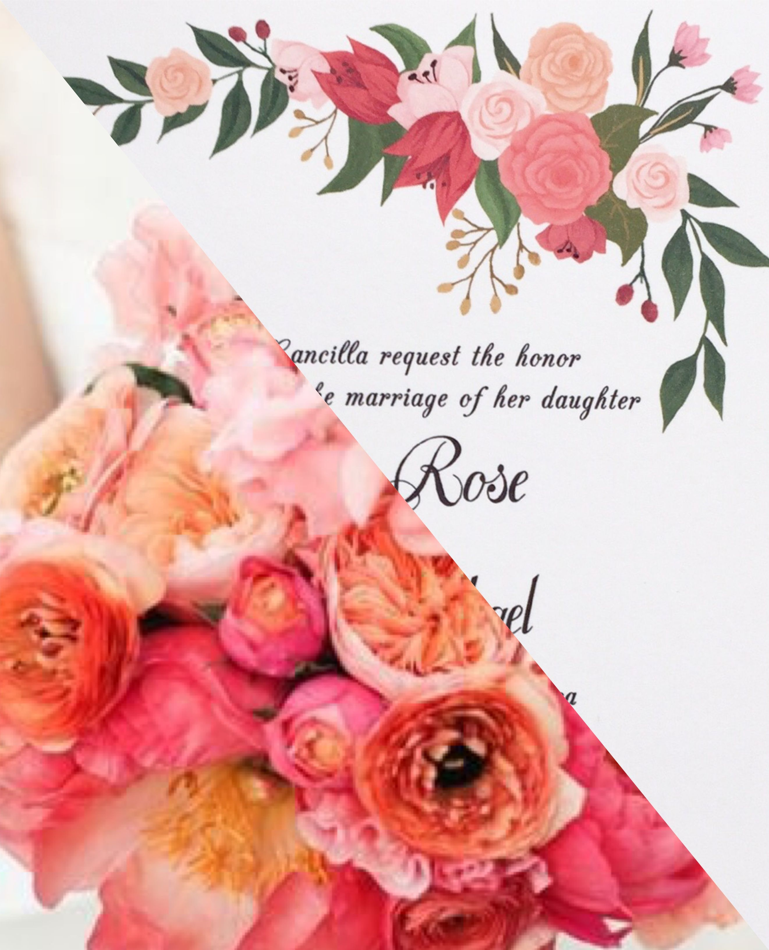 Peach and coral floral wedding invitation. Color customization ...