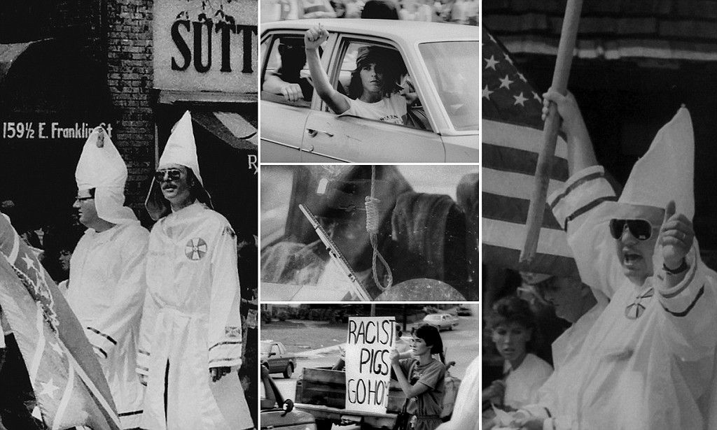 Black and white photos show 1987 Ku Klux Klan march in Chapel Hill