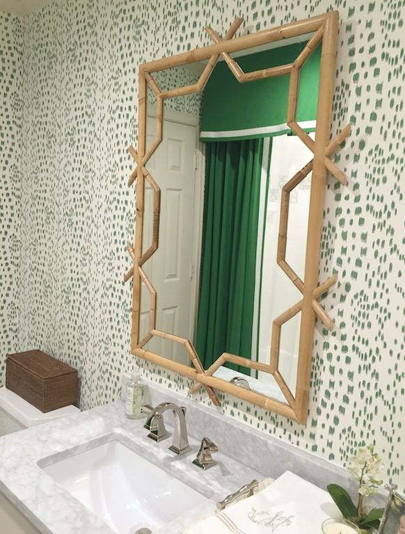 Details Amy Berry Design Or Paint Bamboo Mirror Kelly Green Bathroom Hall
