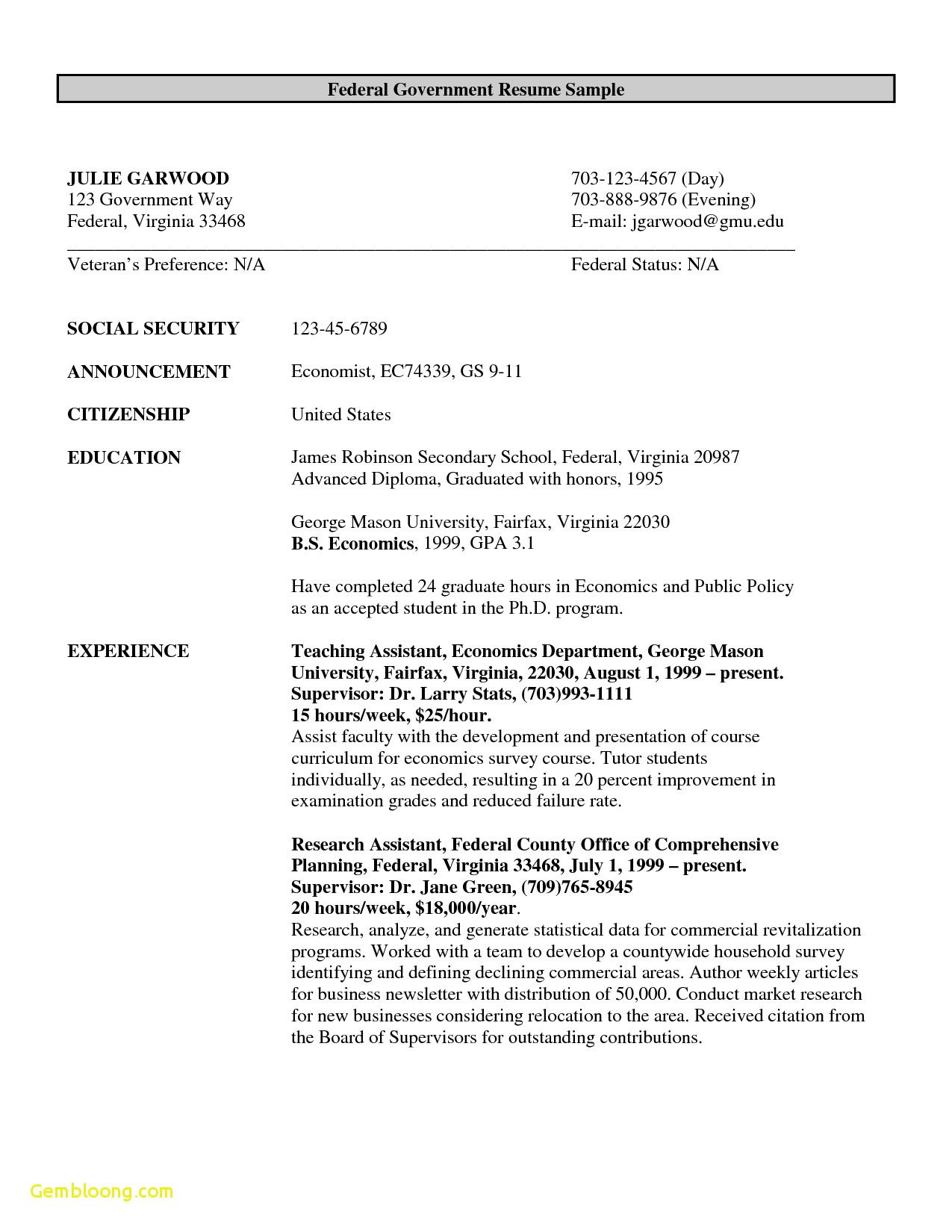 Free Resume Templates Government freeresumetemplates