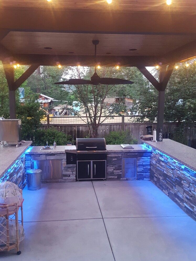 Outdoor Kitchen Custom Built In Traeger Grill Outdoor