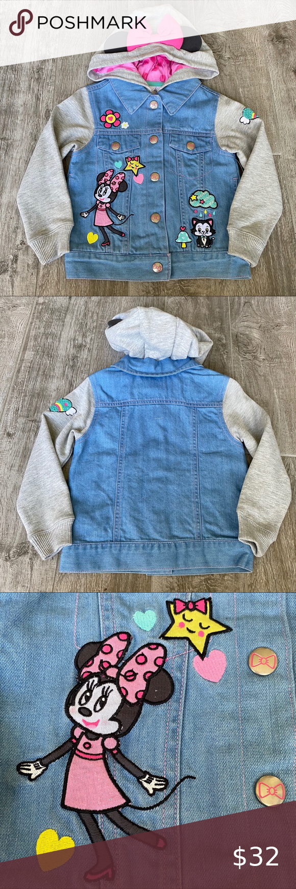 Nwt Disney Minnie Mouse Toddler Jean Jacket 3t Toddler Jeans Jean Jacket Jackets [ 1740 x 580 Pixel ]