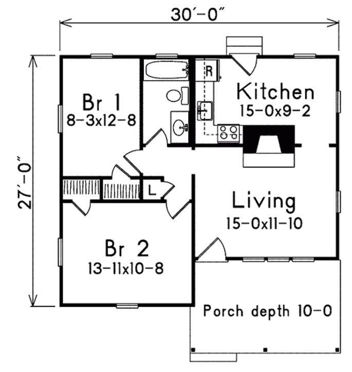 Plano peque o de 70 metros cuadrados y 2 dormitorios for Viviendas pequenas planos