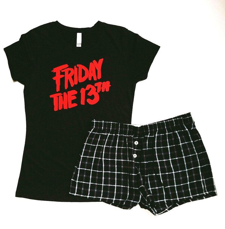 Friday the 13th Pajama Set - Womens T Shirt - Flannel Shorts - Womens  Pajamas - e8797bb52e