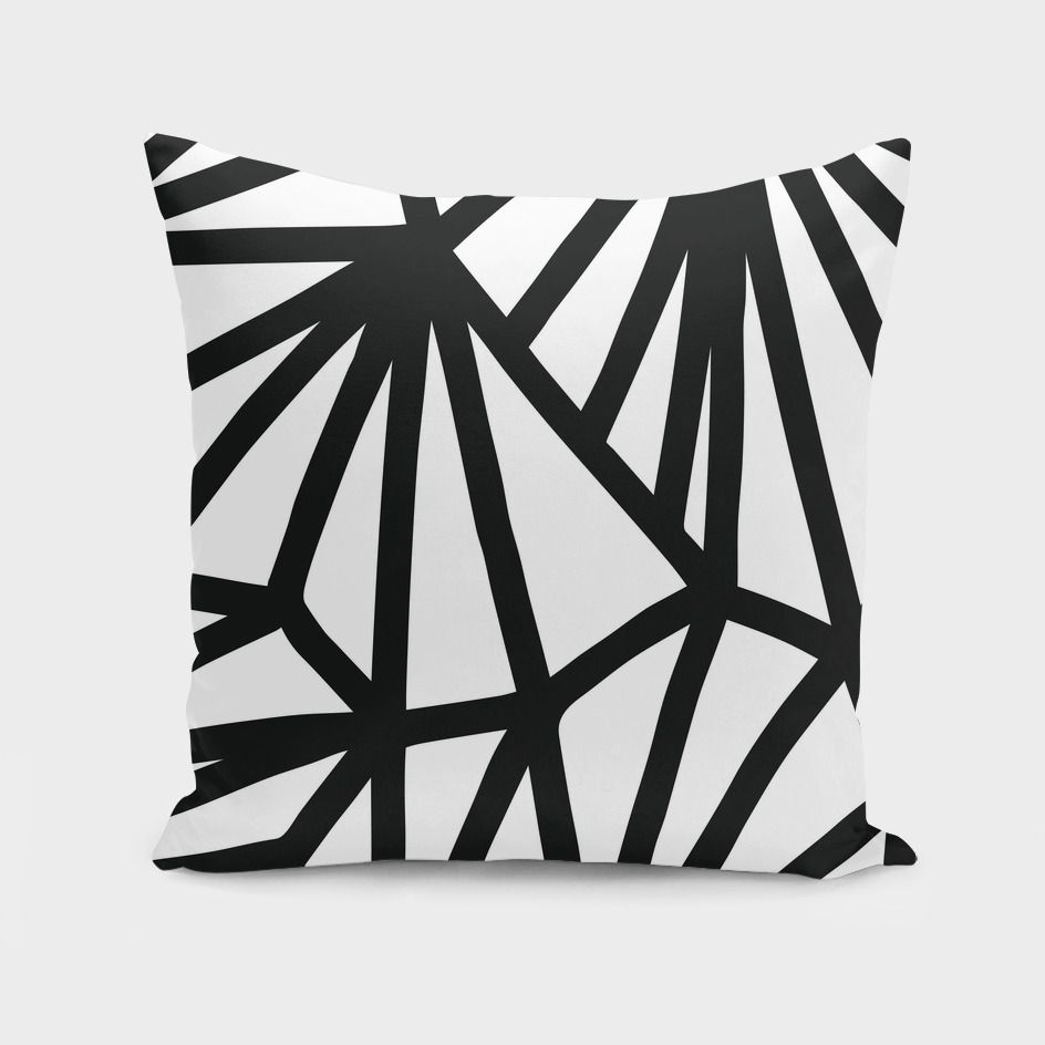 Modern Black And White Geometric Pattern Throw Pillow By