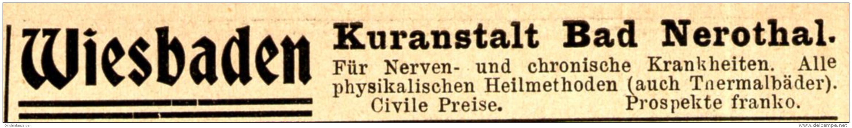 Original-Werbung/ Anzeige 1898 - WIESBADEN / BAD NEROTHAL - ca. 90 X 15 mm
