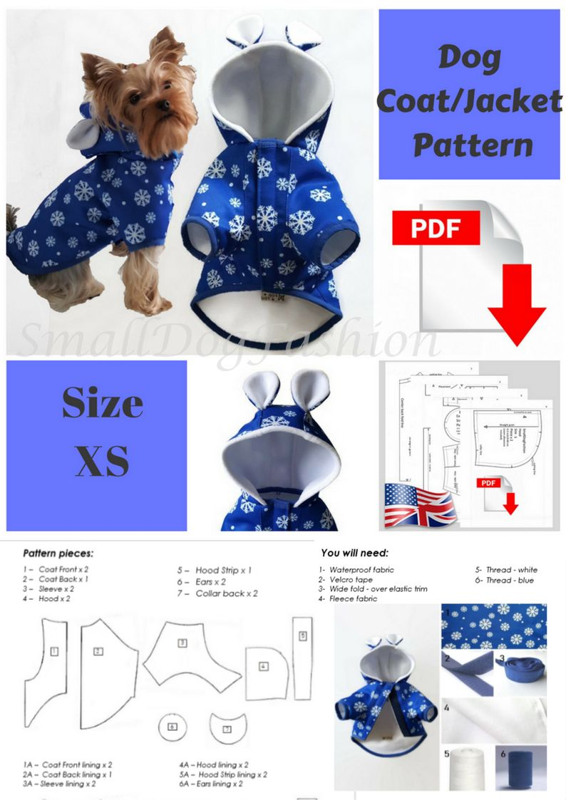 Dog coat pattern dog clothes patterns for sewing small dog clothes