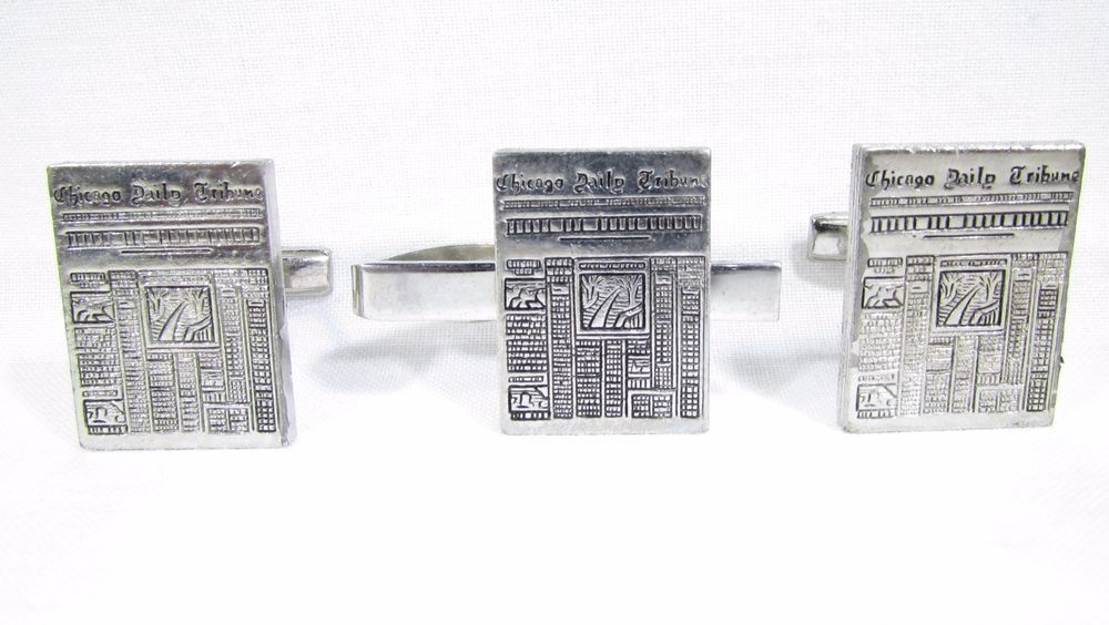 Cufflinks with Vintage Chicago Daily Tribune Advertising