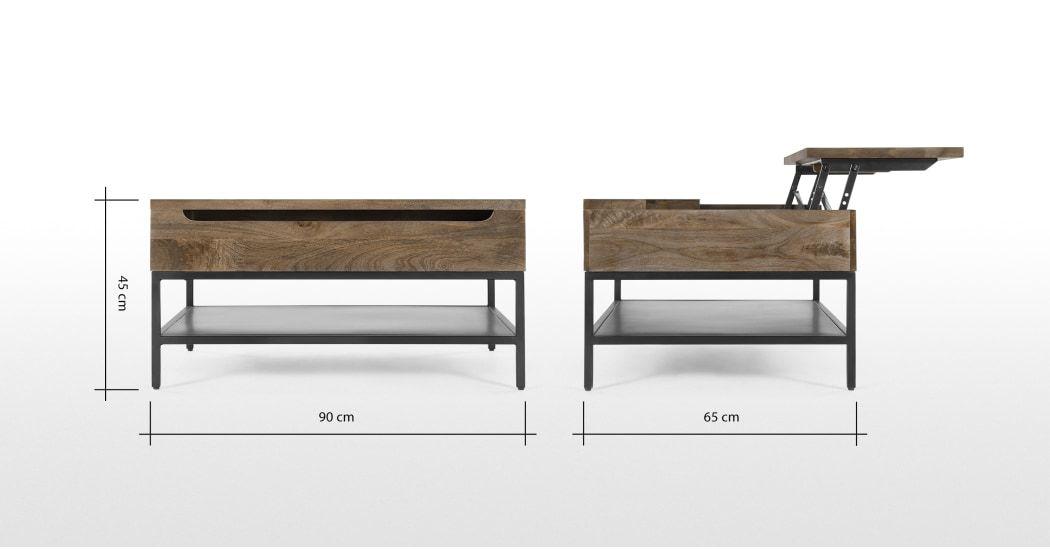 Lomond Table Basse Avec Plateau Relevable Et Compartiment De Rangement Bois De Manguier Et Metal Noir Tables Basses Tables Koffietafel Salontafel Hout