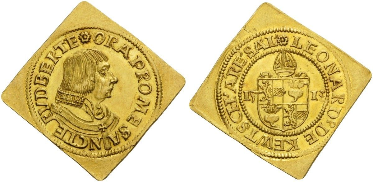 Austrian States/Salzburg (Archbishopric) AV 3 Dukaten Klippe 1513 10.49g. Archbishop Leonhard Von Keutschach 1495-1519